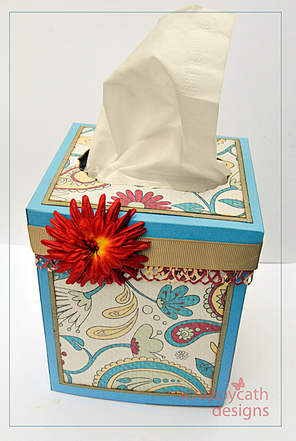 homemade scrapbook tissue box cover
