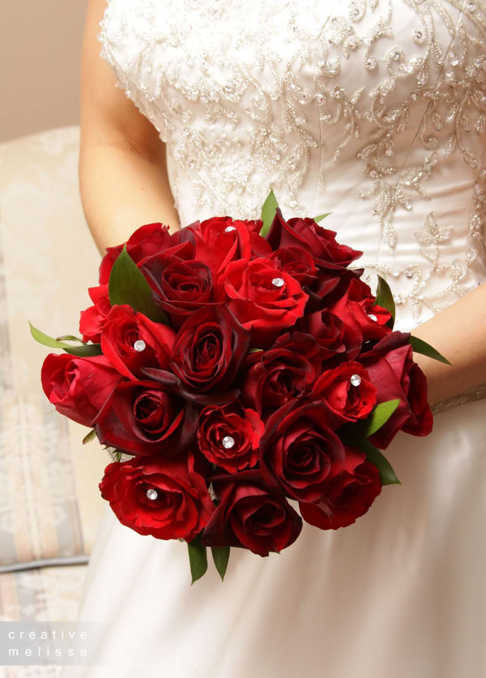 red rose wedding bouquet with crystals