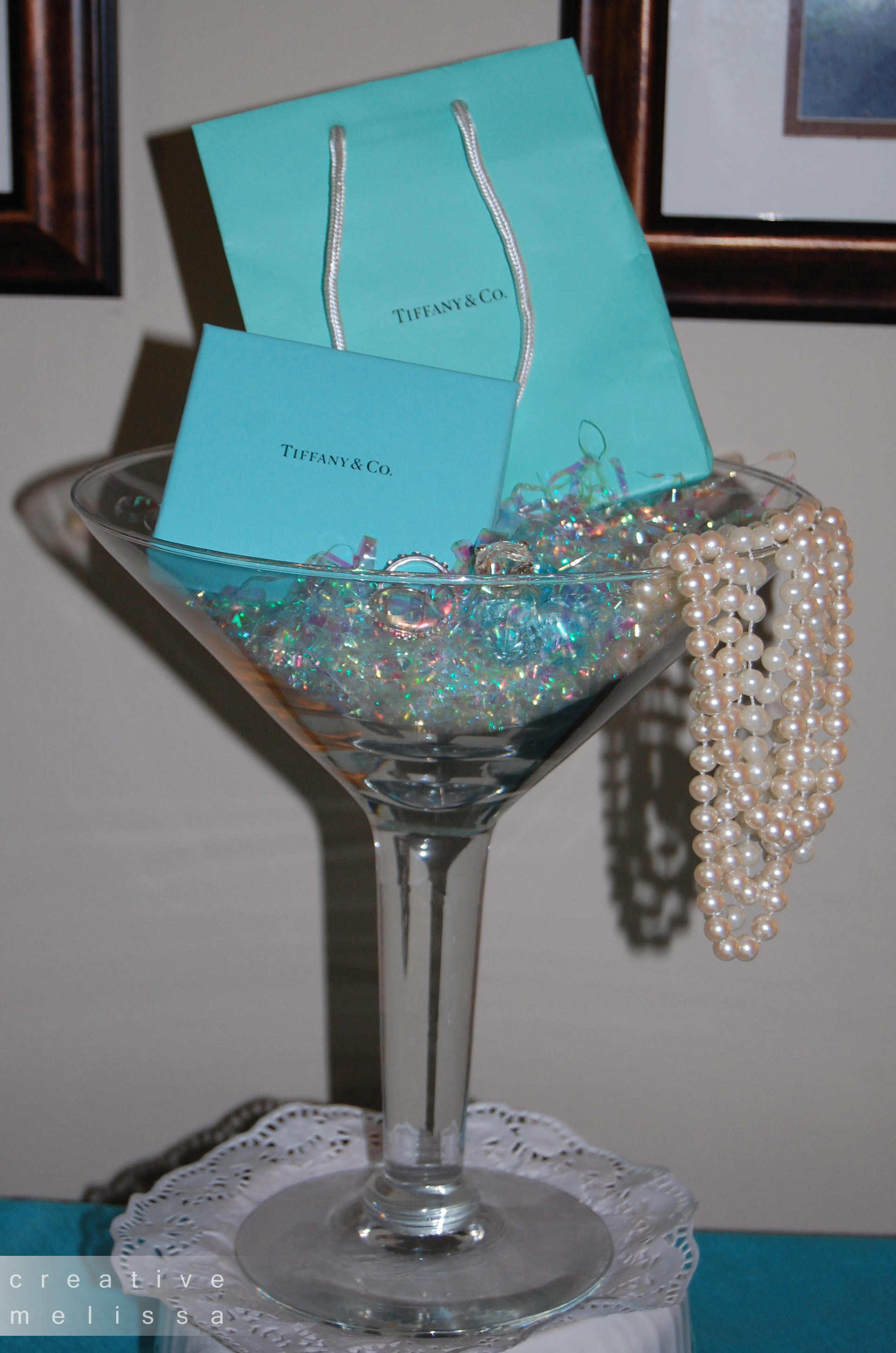 Table Centerpiece for Tiffany wedding Shower Brunch - Creative Melissa Designs