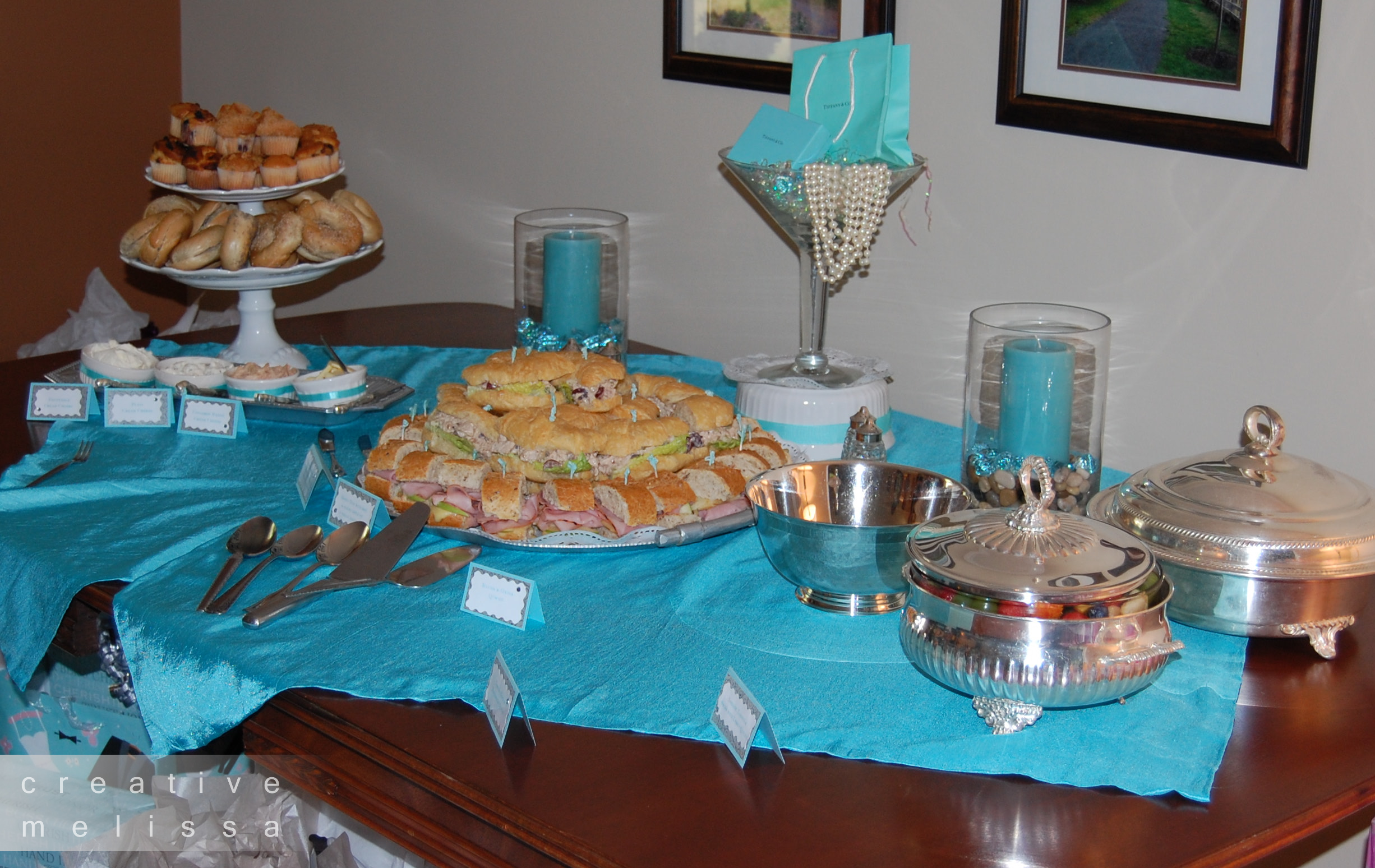 Gloria 39 s blog tiffany co bridal shower food for the Brunch table decorations