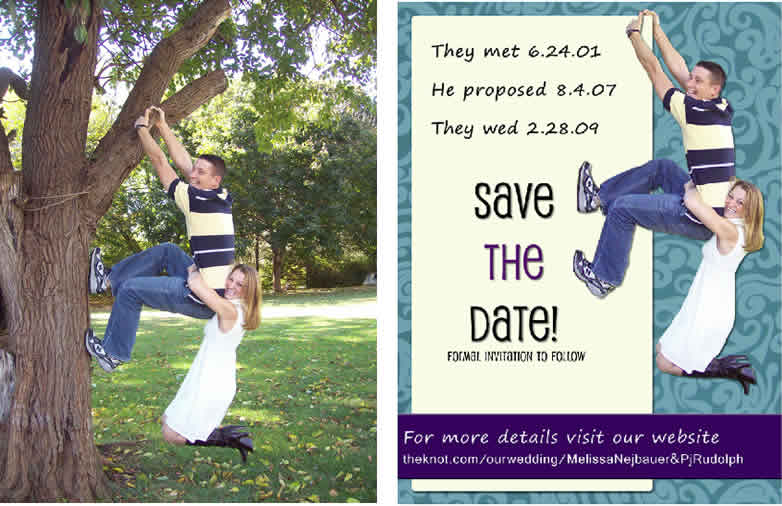 before and after design of save the date