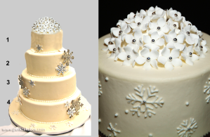 snowflake winter wedding cake