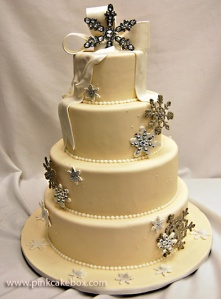 snowflake white wedding cake