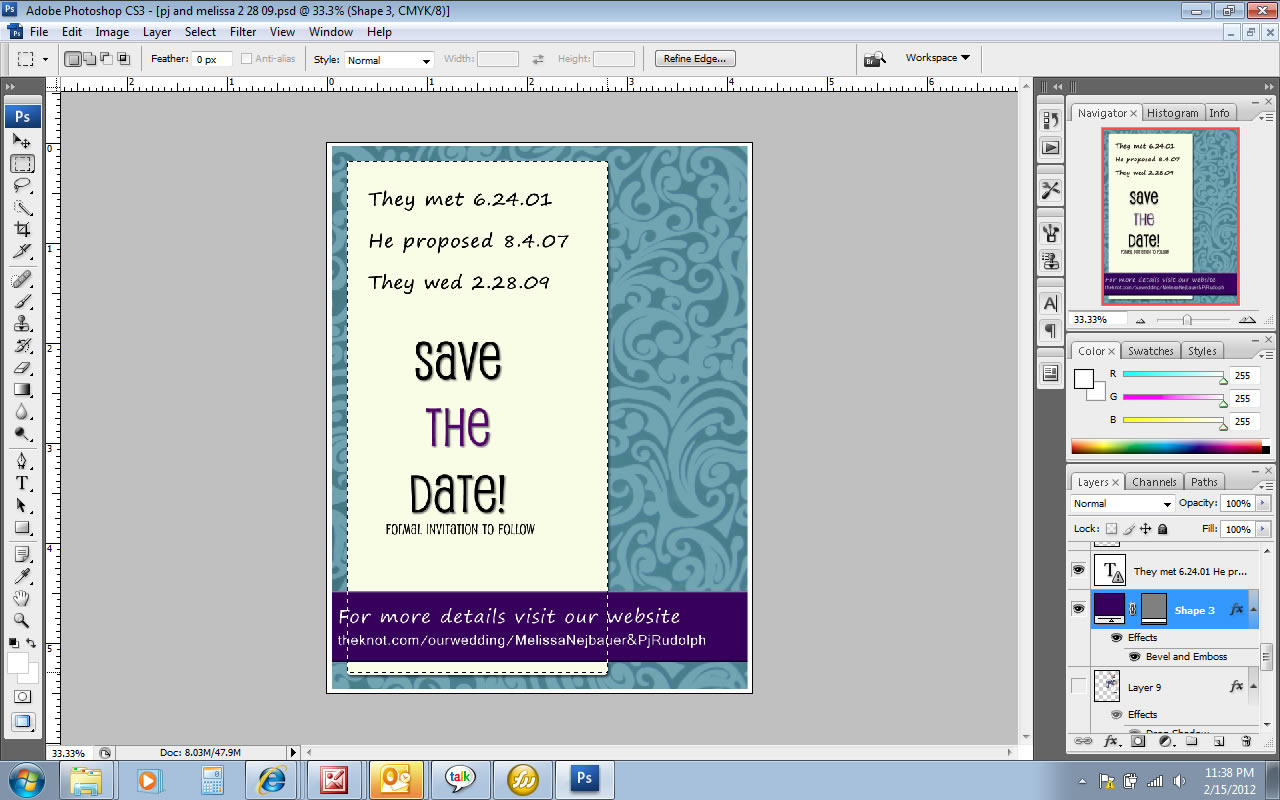 designed save the date invite cards