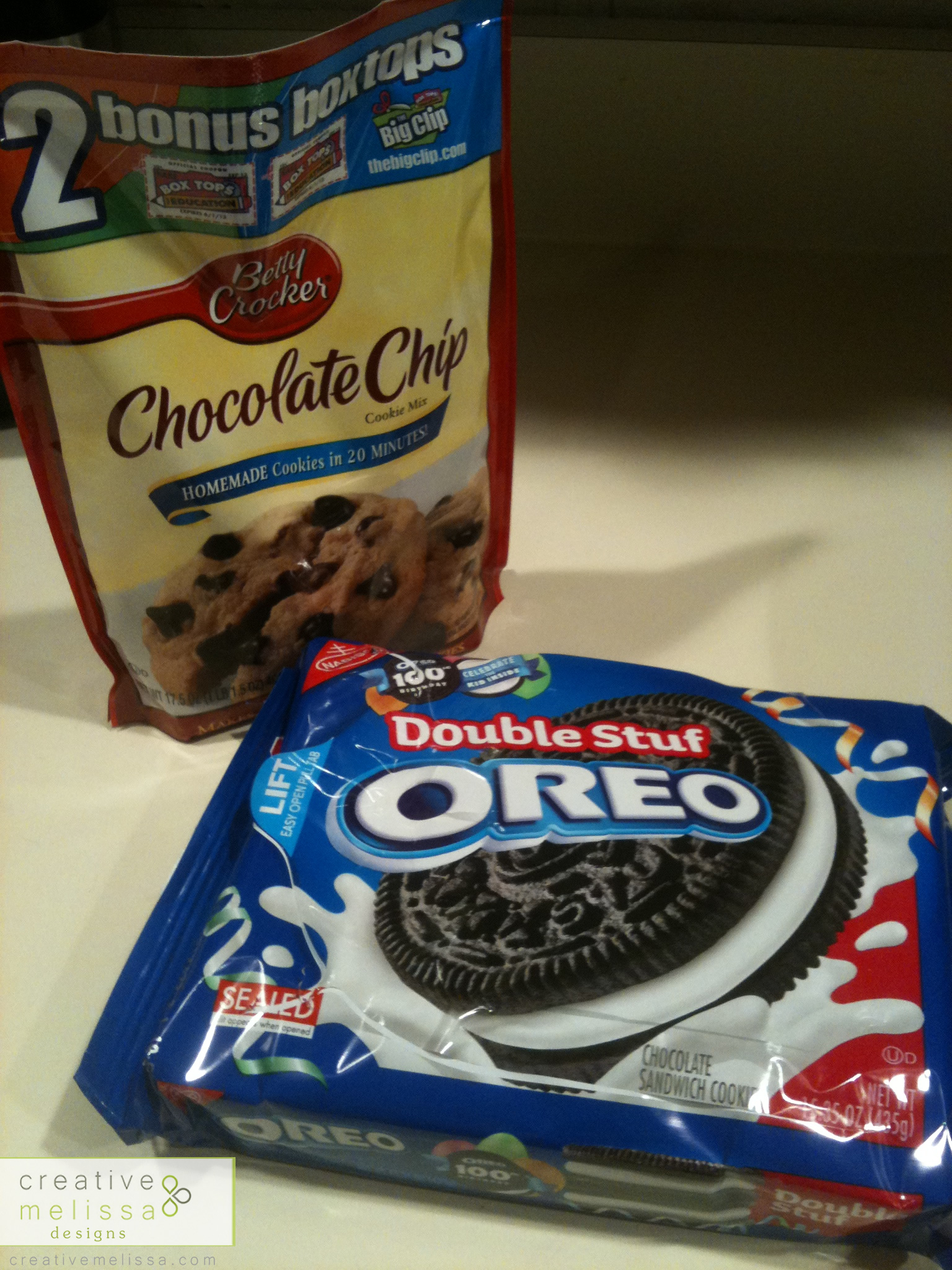 chocolate chip cookie mix and double oreo