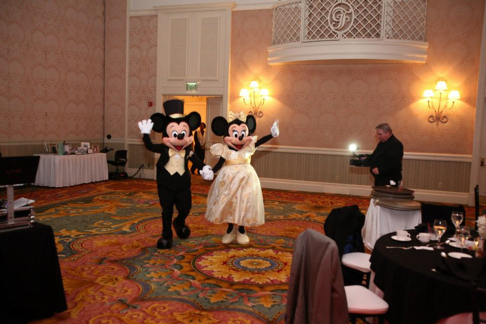 bride groom mickey minnie guest dancing at wedding reception
