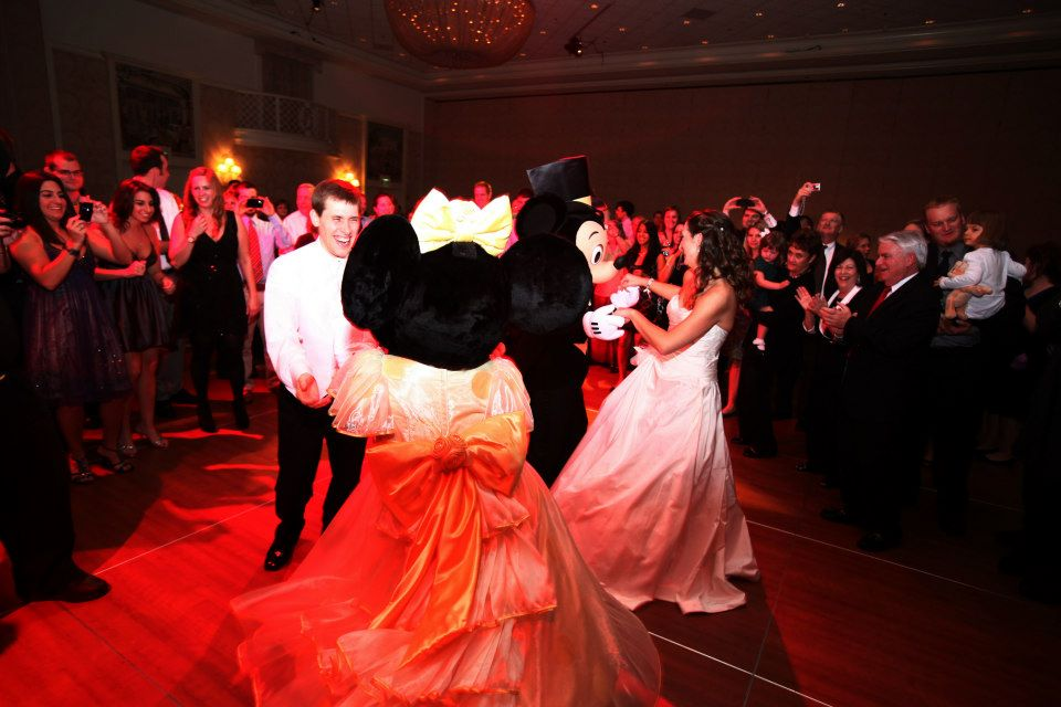 mickey and minnie dancing at wedding reception