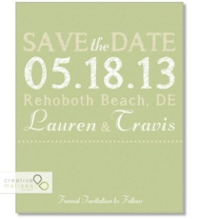 Save the date postcard design beach sage green and tan