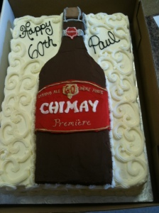 Chimay beer bottle cake design birthday party