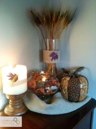 leaves, pumpkine, wheat, jars