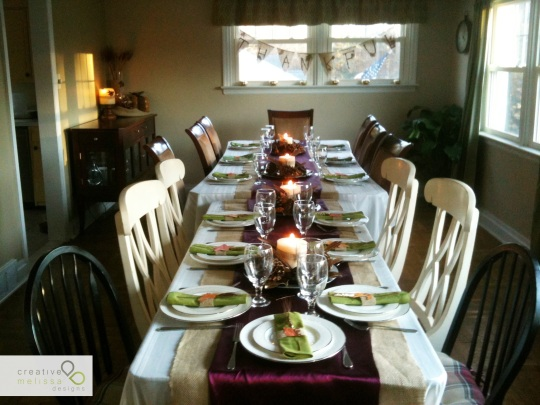 thanksgiving, burandy, burlap, sage green table centerpieces