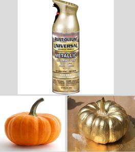 pumpkin sprayed gold spray paint