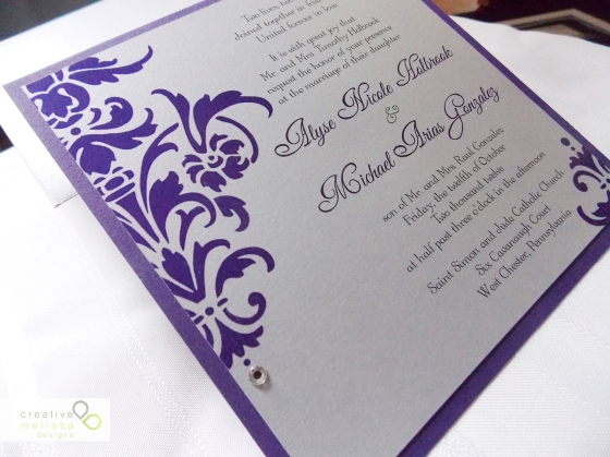 Purple plum and damask wedding invitation silver and rhinestone