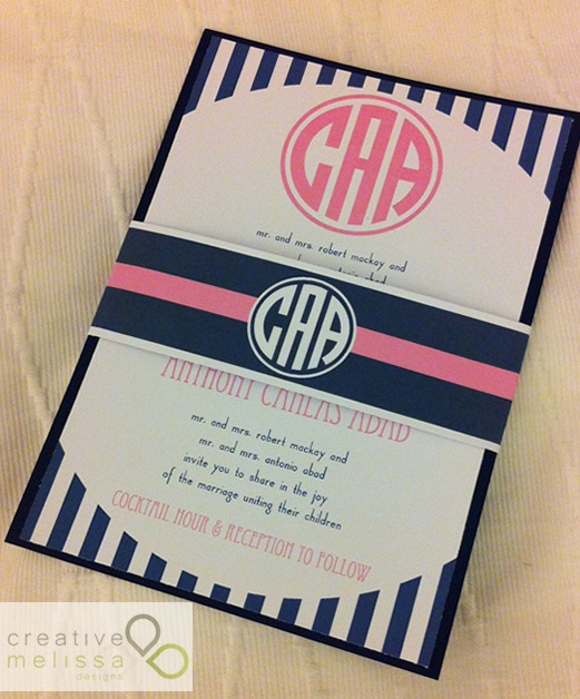 monogram pink and navy blue stripe invitation with belly band
