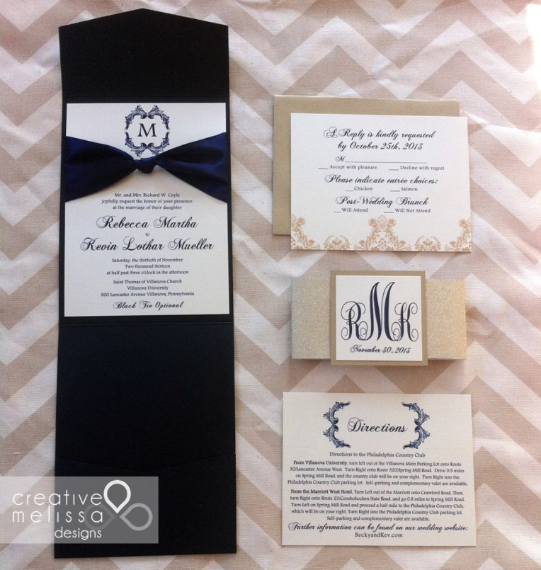 Navy and gold shimmer wedding invitations with pocket
