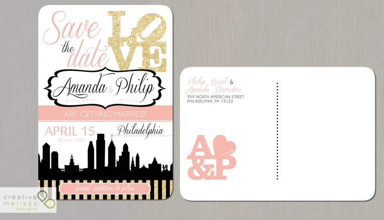Gold and coral save the date invitations philadelphia skyline