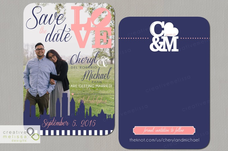 Philly wedding invitations with picture Save the Date navy and coral pink
