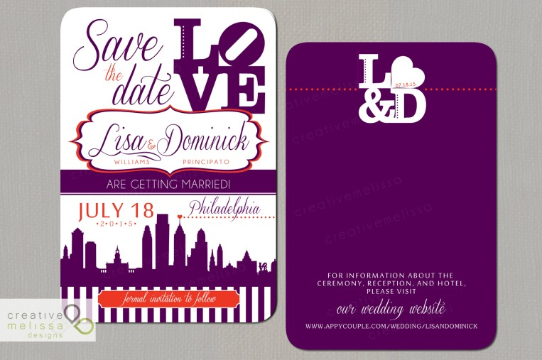 Philadelphia plum purple and burnt orange Save the Date invitations