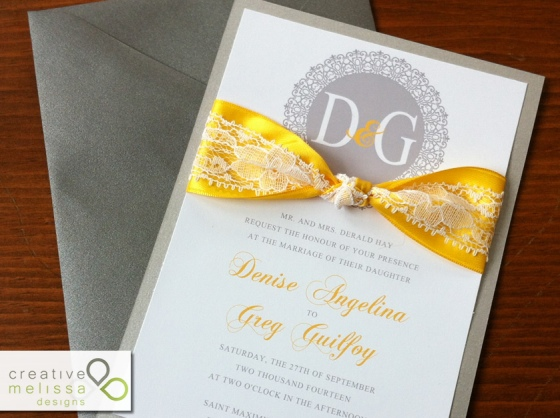 yellow gray and lace wedding invitation