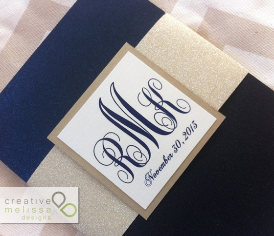 glitter band wedding invitation wrap gold and navy blue monogram