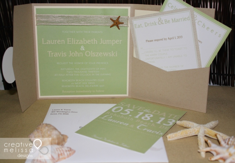 Sage green and tan beach wedding invitations sand pocket
