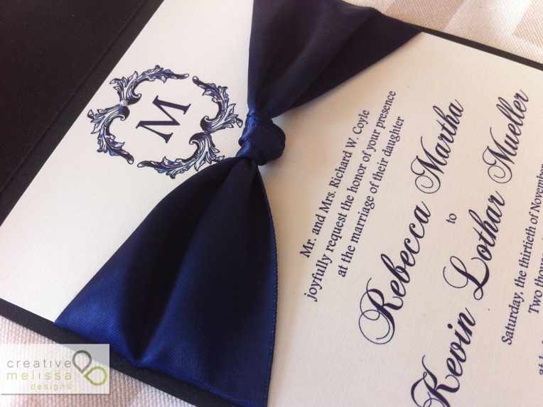 Navy blue initial wedding invitation with satin ribbon love knot - Creative Melissa Designs