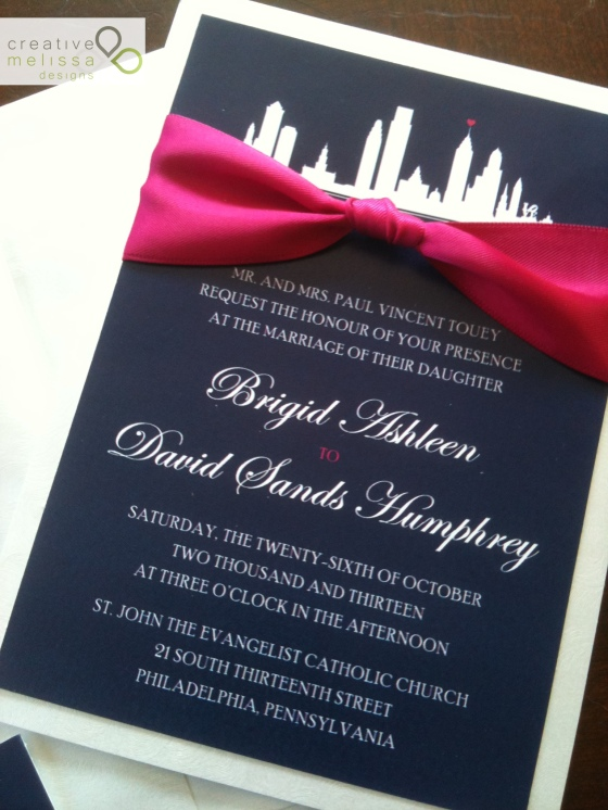 Philadelphia Wedding Invitation - navy and hot pink - Creative Melissa Designs