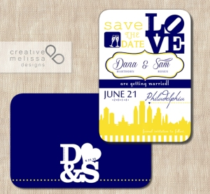 Philadelphia Save the Date Wedding blue and yellow