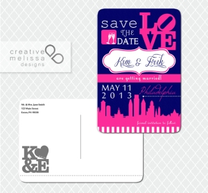Philadelphia Save the Date Wedding blue and pink