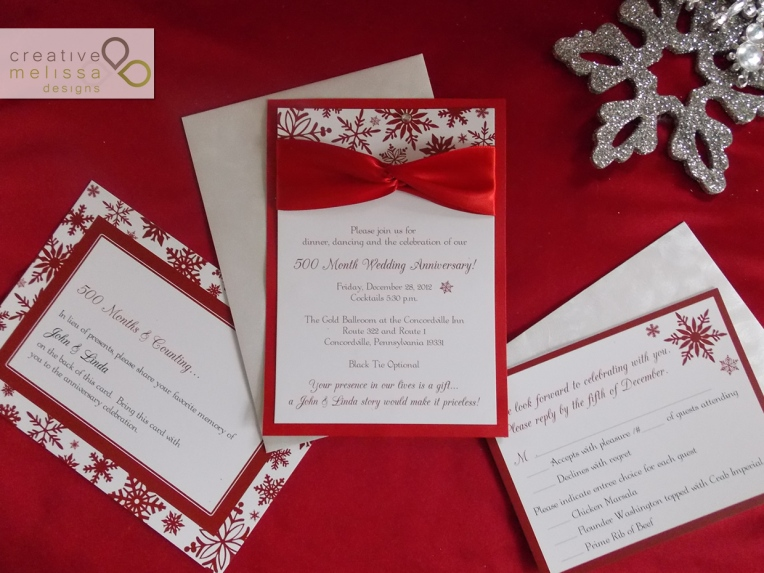 Winter wedding red satin ribbon twist - Creative Melissa Designs