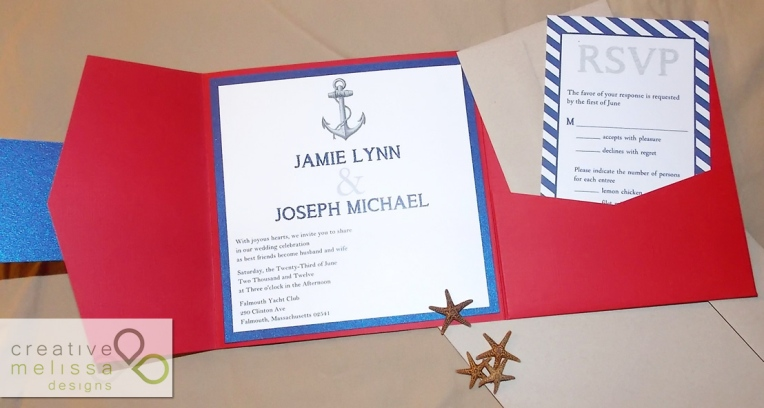 Summer blue and red nautical beach wedding invitations - Creative Melissa Designs