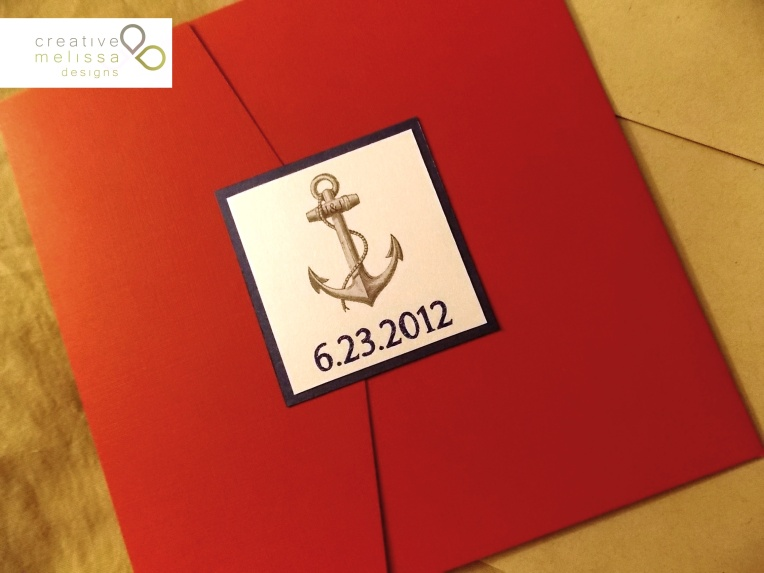 Summer blue and red nautical beach wedding invitations front of pocket Creative Melissa Designs