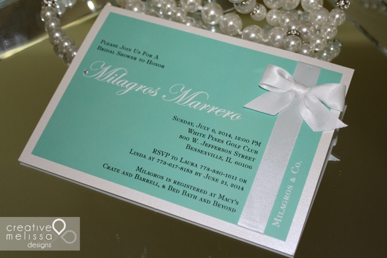 Tiffany invitations shower or wedding blue and white with bow