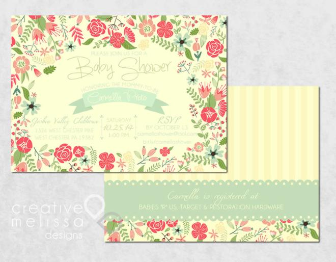 Baby shower invitations flower pink and teal vintage