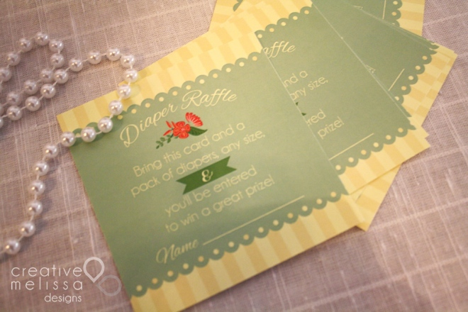 diaper raffle design cards floral green lace