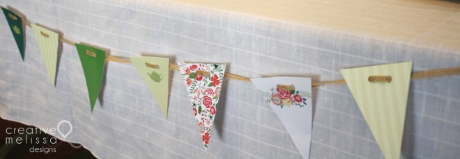 mini flag banners floral baby shower decor