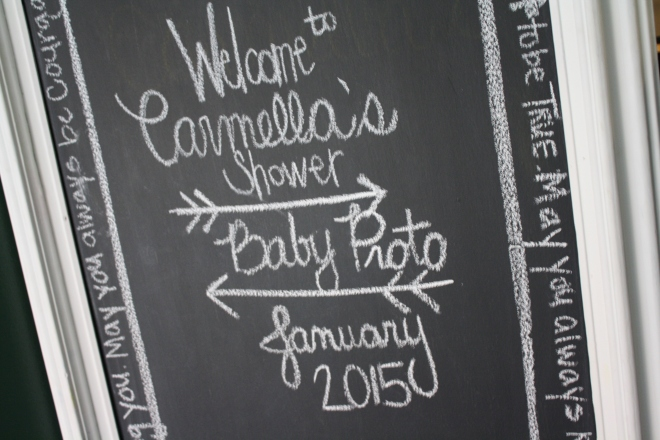 Chalkboard welcome sign baby shower