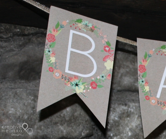 Pink teal wreath and kraft paper shower banner