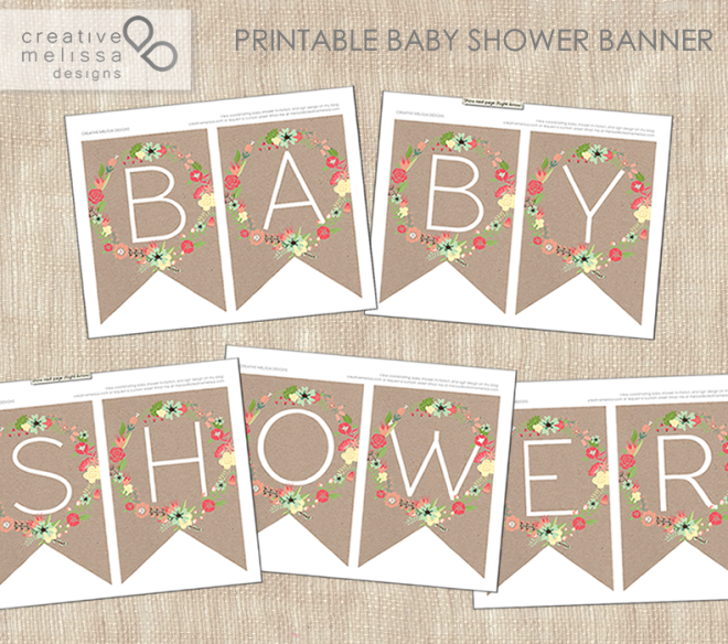 printable baby shower kraft paper and flowers garden party